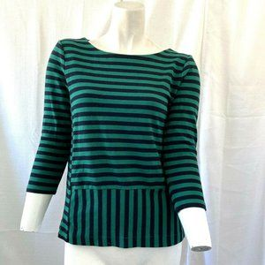 Madewell Green and Black Striped Womens Shirt Smal
